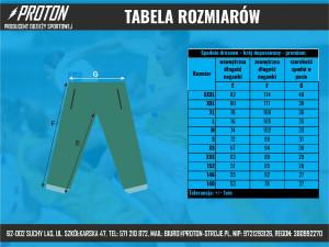 Tabela rozmiarów spodnie dresowe - krój dopasowany