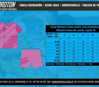 Tabela rozmiarów - Ultimate Frisbee - Damskie, Sizing Table - UF kit, women