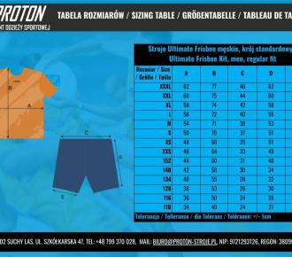 Tabela rozmiarów - Ultimate Frisbee - Męskie, Sizing Table - UF kit, men