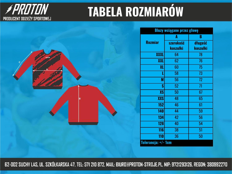 Tabela rozmiarów bluza wciągana