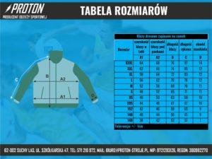 Tabela rozmiarów bluza z zamkiem
