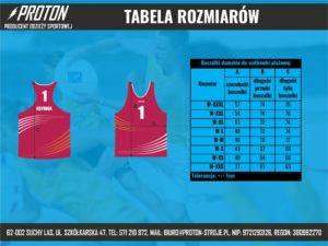 Tabela rozmiarów koszulki do siatkówki plażowej damskie
