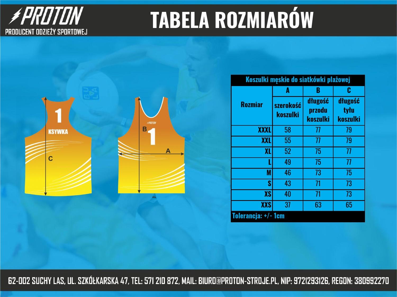 Tabela rozmiarów koszulki do siatkówki plażowej