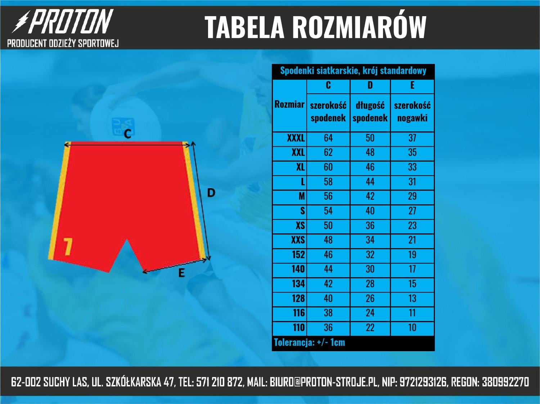 Tabela rozmiarów spodenki siatkarskie męskie