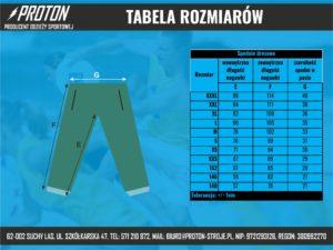 Tabela rozmiarów spodnie dresowe
