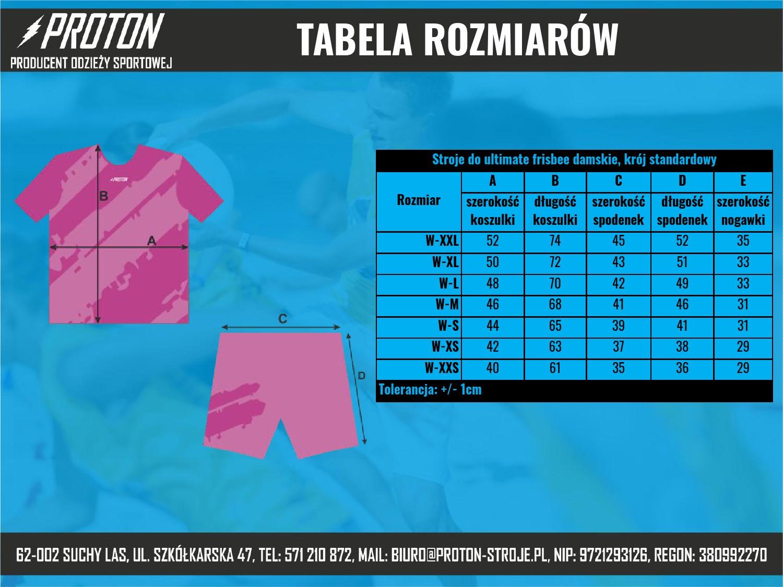 Tabela rozmiarów stroje ultimate frisbee damskie