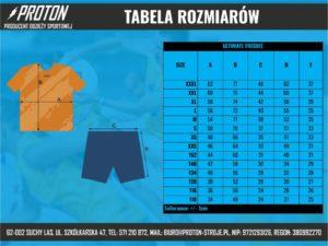 Tabela rozmiarów stroje ultimate frisbee męskie
