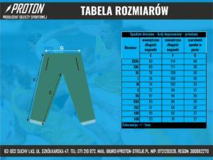 Tabela rozmiarów spodnie dresowe dopasowane
