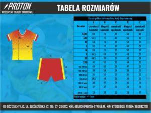 Tabela rozmiarów stroje piłkarskie męskie - krój dopasowany