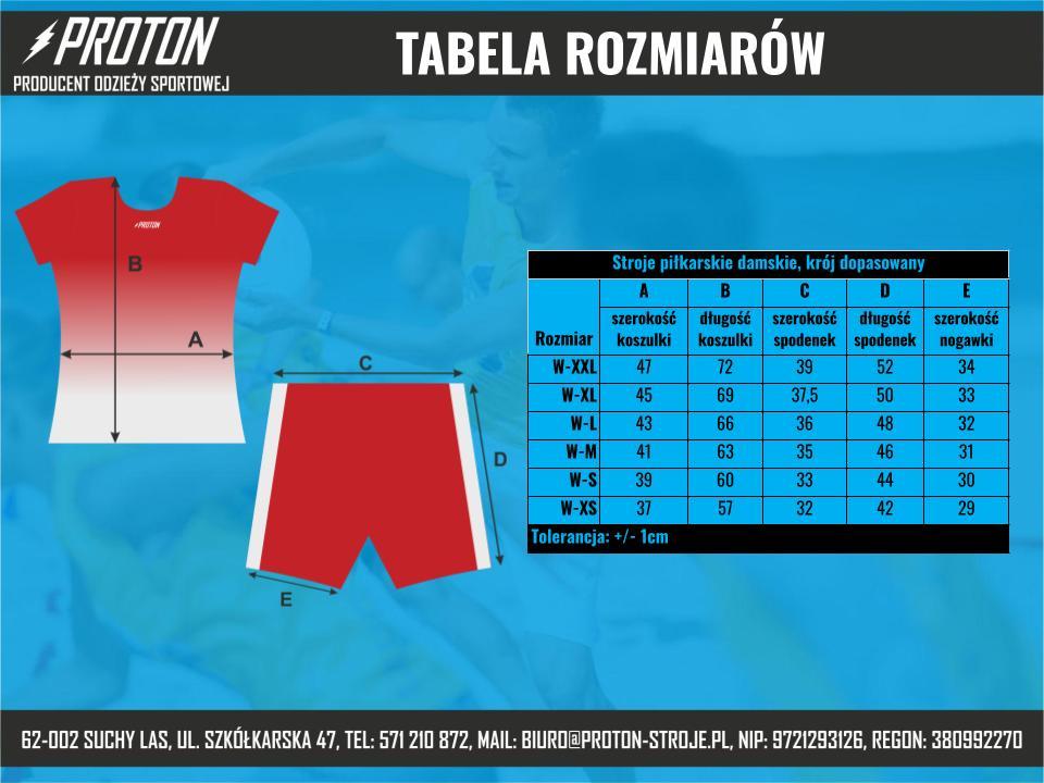 Tabela rozmiarów stroje piłkarskie damskie dopasowane