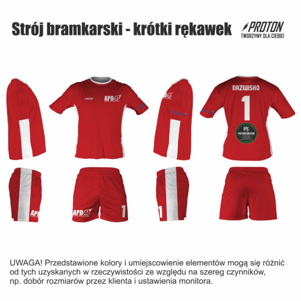 Akademia Piłkarska Dębiec strój bramkarski meczowy krótki rękaw