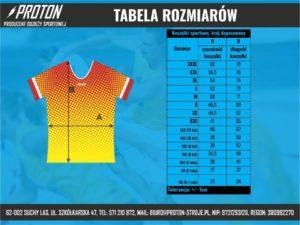Tabela rozmiarów koszulki sportowe dopasowane