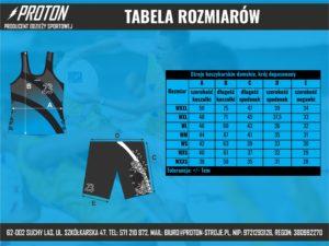 Tabela rozmiarów stroje koszykarskie damskie dopasowane