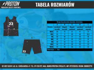 Tabela rozmiarów stroje koszykarskie damskie luźne