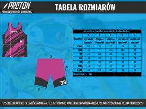Tabela rozmiarów stroje koszykarskie damskie std