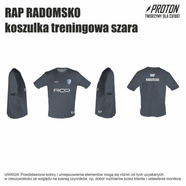 RAP RADOMSKO koszulka treningowa szara inicjały